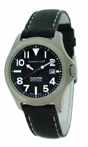 Momentum 1M-SP01B2B - Reloj analógico de cuarzo para mujer con correa de piel, color negro