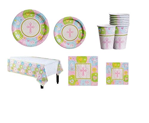 Sweet Christening Pink Party Supply Pack For 8 Guests!