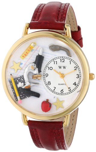 Whimsical Watches Unisex G0640004 Science Teacher Burgundy Leather Watch