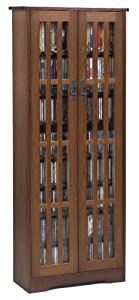 Large Arts And Crafts Style Glass-Front Media Storage Cabinet With Adjustable Shelves, In Walnut Finish