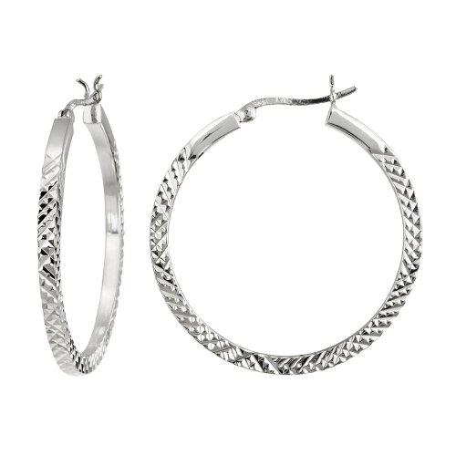 Sterling Silver Large Square Tube Diamond Cut Click-Top Hoop Earrings (1.6