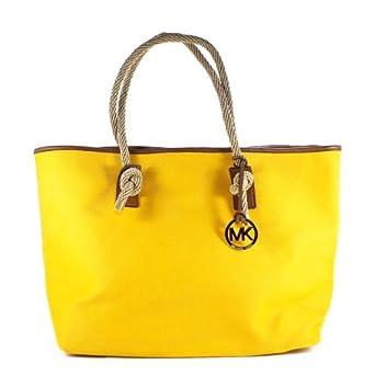 Michael Kors Marina East West Tote Gold Canvas Shoulder Bag 54