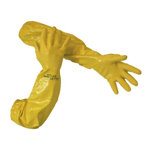 Atlas 772 Nitrile Coated Gloves 26 inch Long Cotton Lined, Chemical Resistant, Water, Pond, Work, X-Large