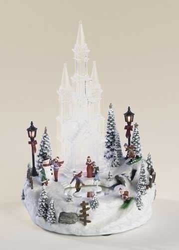 Animated Musical Lighted Ice Castle with Skaters Christmas Table Top Decoration