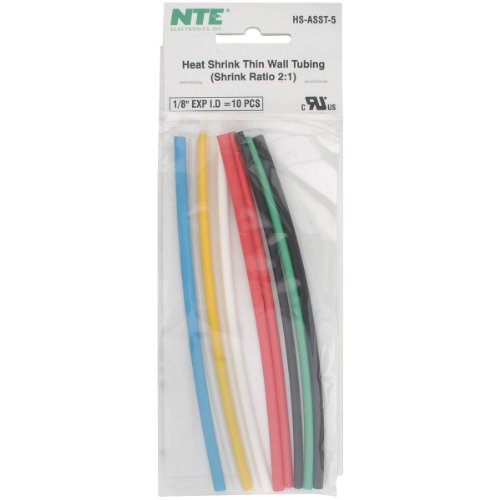 NTE Heat Shrink 2:1 Assorted Colors 1/8 x 6 10 Pcs.