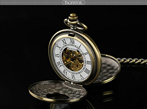 Pacifistor Bronze Men's Classic Vintage Antique Hand Wind Up Semi Automatic Skeleton Mechanical Roman Numeric Analog Pocket Watch +Fob-Chain #PX-012-BRZ 1