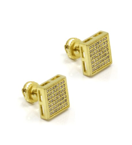 Mens 10Mm 14K Gold Plated Cz Micro Pave Iced Out Hip Hop Square Stud Earrings Screw Backs (7 Lines) 02