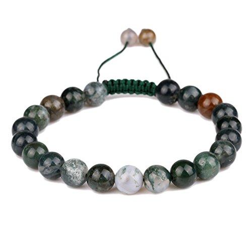 [banshren 8mm Healing Stone Handmade Adjustable Round Indian Agate Reiki Bead Beaded Bracelet] (Indian Beaded Bracelet)