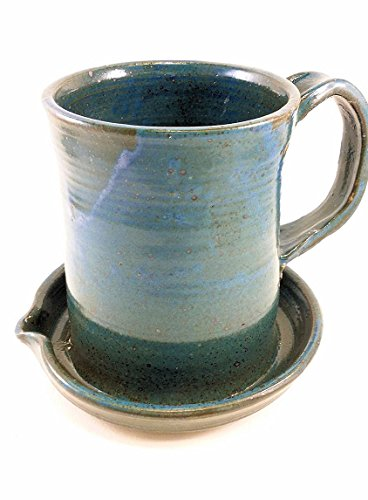 Aunt Chris' Pottery - Heavy Hand Made - Clay Bacon Cooker - Unique New Way Of Cooking Bacon - Primitive Blue Glazed