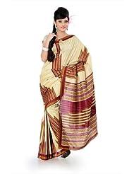 Designersareez Women Bhagalpuri Silk Printed Cream Saree With Unstitched Blouse(832)