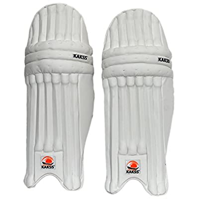 KAKSS Men's Soft Leather Batting Pads (Size: Men, White & Blue)
