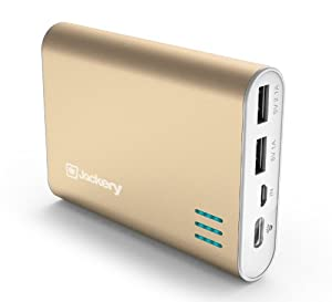 Jackery Giant+ Premium Fast-Charging Aluminum Portable Charger 12000mAh External Battery Pack Power Bank with Dual USB Port for Apple iPhone 5S, 5C, 5, 4S, iPad, Air, Mini, Samsung Galaxy S4, S3, Note, Nexus, LG, HTC. USB Charger, Portable Charger, Portable Phone Charger, USB Battery Pack, Dual USB Car Charger, Power Bank, Portable Battery for Mobile Devices (Gold)