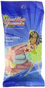 Island Hula Yummies Sour Gummy Worms, 6 Ounce