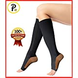 Presadee Copper Infused 20-25 mmHg Zipper Compression Socks Reduce Swelling Anti-Fatigue Enhance Blood Circulation (L/XL, Black)