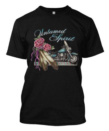 Untamed Spirit Biker Motorcycle Rider Ladys Flowers Men's Size T-shirt Tee (Large, BLACK)