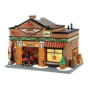 Department 56 Christmas in The City Village Harley-Davidson Garage Lit House, 6.5-Inch