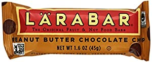 LÄRABAR Gluten Free Fruit & Nut Food Bar, Peanut Butter Chocolate Chip, 1.6 oz, 16 Count
