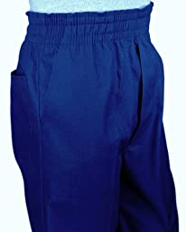 Mens Full Elastic Waist Pants with Mock Fly (M, Navy)