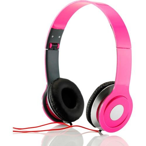 D-J Style Pink Over The Ear Headphones Stereo Cell Phone Tablet Mp3 Pc 3.5Mm