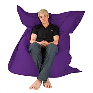 Hi-BagZ® 4-Way Bean Bag Lounger - GIANT Outdoor Floor Cushion Bean Bags PURPLE - 100% Water Resistant Beanbag