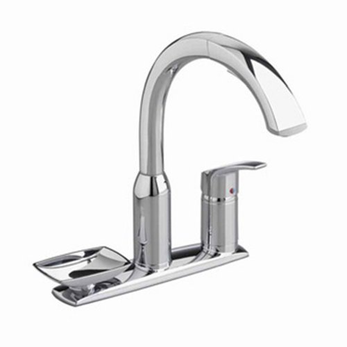 American Standard 4101.351.002 Arch Pull-Out Kitchen Faucet with Deck Plate and Removable Soap Dish, Polished Chrome