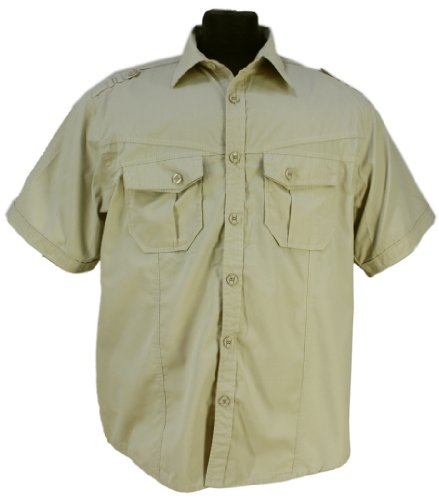 Italian Design - Mens Lavecchia Casual Short Sleeve Military Style Shirt in sand: 3XL