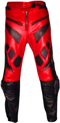 NEW MOTORCYCLE BIKE RIDING LEATHER PANTS PANT RED 32
