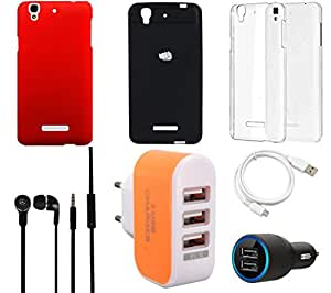 NIROSHA Cover Case Car Charger Headphone USB Cable Charger car Combo for YU Yureka Combo