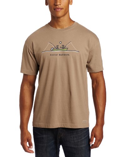 Life is Good Men's Crusher Tee, Social Network Fish, Light Brown, Medium