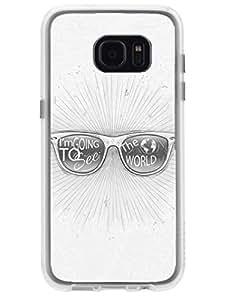 Madanyu Globetrotter - Wanderer - Glasses - 2D Glossy Back Case Cover For Samsung S7 Edge - Transparent Sides