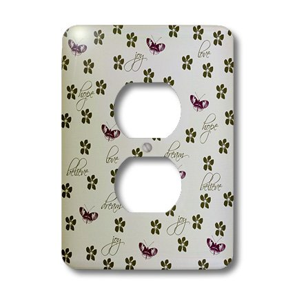 PS Inspirations - Dream Hope Joy Inspirational Butterflies and Flowers - Light Switch Covers - 2 plug outlet cover (lsp_202376_6)