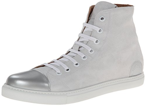 MARC JACOBS Men's Calf Leather Mercer High Top Fashion Sneaker, Moon, 41 EU/7 M US