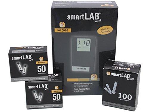 smartLAB mini Blutzuckermessgerät mmol/L Bundel   Blutmessung-Kombi-Set mit 100 Blutzuckerteststreifen & 100 Lanzetten   Blutzuckermesssystem im Scheckkartenformat Schwarz