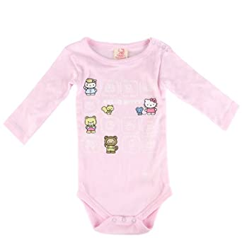 Hello Kitty Organics Baby-girls Infant Bodysuit with Hello Kitty and Friends Print, Light Pink, 12-18 Months