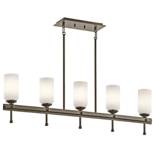 B006QEJ6O0 Kichler Lighting 42945SWZ Ladero 5-Light Linear Pendant, Shadow Bronze Finish with Satin Etched Cased Opal Glass