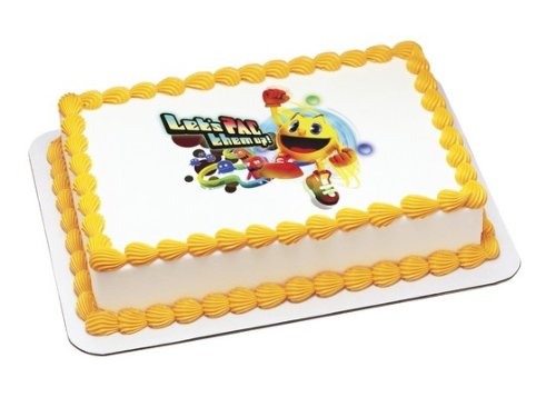 Pac-man Let's Pac Them Up! Edible Cake Image Topper