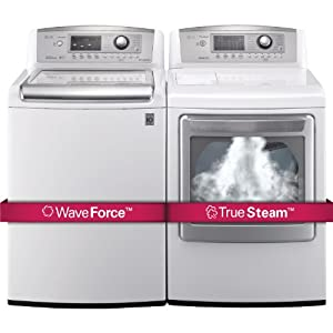 LG H/E Ultra Large Capacity H/E Top Load Laundry Pair with WaveForce Technology WT5070CW DLEX5170W (ELECTRIC Dryer)