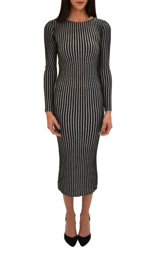 Alice + Olivia Women's Zella Long Crewneck Dress Black/White XS