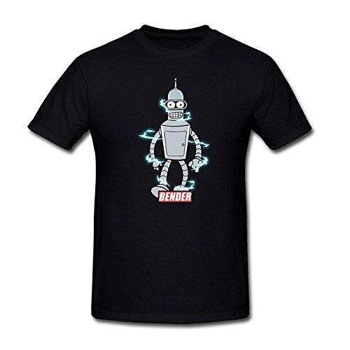 Drong Men's Bender Bad Temper Robot Futurama T-Shirt L Black (Futurama Season 9 compare prices)