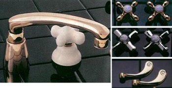 Brass and Porcelain Chigago Kitchen Faucet - Plain Cross Handles - Polished Brass