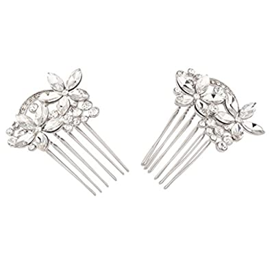 Lux Accessories Floral Crystal Pave Flower Bridal Hair Comb Set