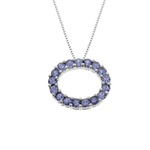 Ladies Tanzanite Oval Shaped Pendant in Sterling Silver 17Stones