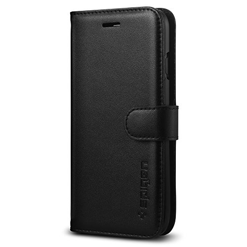 Spigen-Valentinus-iPhone-7-Case-with-Foldable-Genuine-Leather-Cover-and-Kickstand-Feature-for-iPhone-7-Black