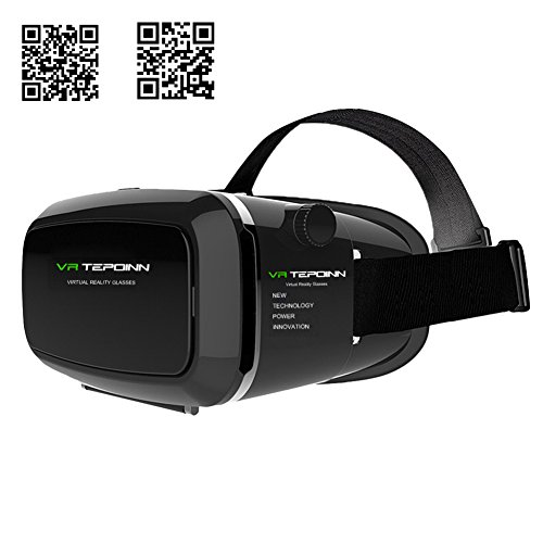 Tepoinn Upgraded Version 3D Virtual Reality Headset with two-way linkage slot and magnet front cover, Movies Games For IOS, Android Smartphones Series within 3.5-5.7 inches