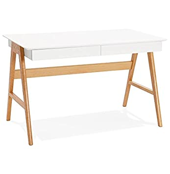 Alterego - Bureau droit design 'SIROKO' blanc style scandinave - 120x70 cm