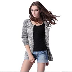 Women's Chunky Knits Cardigan Handworked Knit Cotton and Dog Fur Sweater