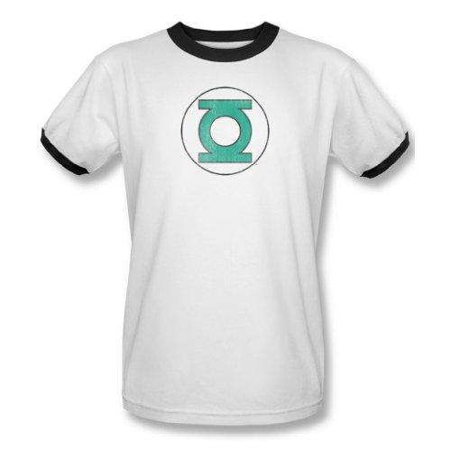 Dc Comics-Costume da Lanterna Verde da uomo Distressed Ringer-T-Shirt, colore: bianco/nero Multicolore bianco/nero