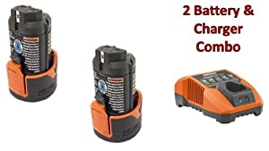 Ridgid R82009 Drill (2 Pack) 12V Li-on Batteries (R86048) & (1) Charger (R86049) Combo Kit # 130188001-2BC-140446001