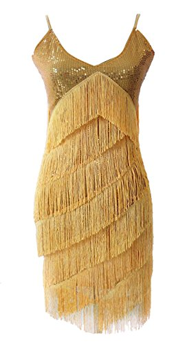 Vshop-2000 Women Neck Deco Gatsby Sequins Fringe Sway Flapper Dress