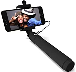 Selfie Stick, PerfectDay QuickSnap Self-portrait Monopod Extendable Wired Selfie Stick with built-in Remote Shutter With Adjustable Phone Holder for iPhone 6, iPhone 6 Plus, iPhone 5 5s 5c, Android, WIRED